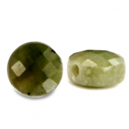Natural stone beads faceted round 7mm Olive Green