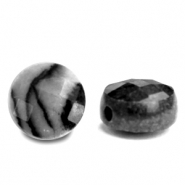 Natural stone beads faceted round 7mm Black Anthracite