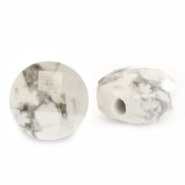 Natural stone beads faceted round 5mm White Marble