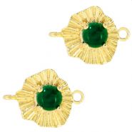 "Brass TQ metal charms connector ""sunny stone"" Gold-Emerald Green"