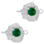 "Brass TQ metal charms connector ""sunny stone"" Silver-Emerald Green"