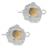 "Brass TQ metal charms connector ""sunny stone"" Silver-Champagne"