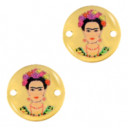 DQ European metal charms connector 15mm Frida Kahlo Gold (nickel free)