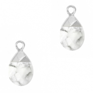 Natural stone charms White Marble-Silver