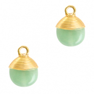 Natural stone charms wire wrapped Ocean Green-Gold