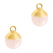 Natural stone charms wire wrapped Icy Pink-Gold