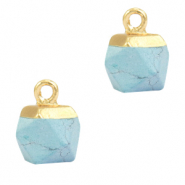 Natural stone charms hexagon Haze Blue-Gold