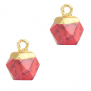 Natural stone charms hexagon Red Marble-Gold