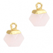 Natural stone charms hexagon Icy Pink-Gold