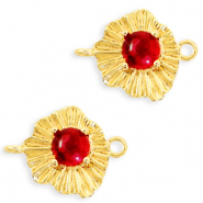 "Brass TQ metal charms connector ""sunny stone"" Gold-Scarlet Red"
