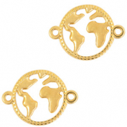 DQ European metal charms connector earth 20mm Gold (nickel free)