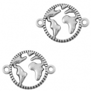 DQ European metal charms connector earth 20mm Antique Silver (nickel free)
