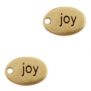 "DQ European metal charms oval ""joy"" Antique Bronze (nickel free)"