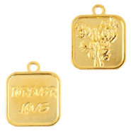 "DQ European metal charms rose & ""forever love"" Gold (nickel free)"