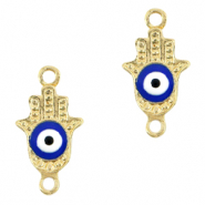 Metal charms/connectors Hamsa hand Evil eye Gold-Blue