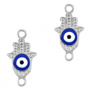 Metal charms/connectors Hamsa hand Evil eye Silver-Blue