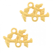 DQ European metal charms connector birds Gold (nickel free)