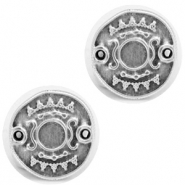 DQ European metal charms connector Ethnic with setting for SS20 flatback Antique Silver (nickel free)