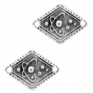DQ European metal charms connector rhombus planets Antique Silver (nickel free)