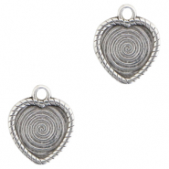 DQ European metal charms heart Antique Silver (nickel free)