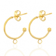 Stainless steel earrings creole with loop 15mm Gold