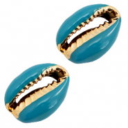 Shell beads specials Cowrie Mosaic Blue-Gold