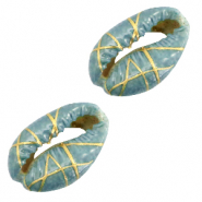 Shell beads specials Cowrie Gold Line-Basil Green