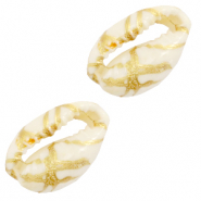 Shell beads specials Cowrie Gold Line-Off White