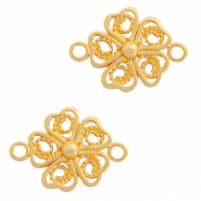 DQ European metal charms connector flower Gold (nickel free)