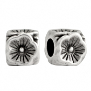 DQ European metal beads flower cube 5mm Antique Silver (nickel free)