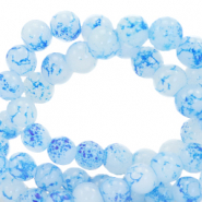 6 mm marbled glass beads Marble White-Blue