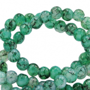 8 mm marbled glass beads Green Ash