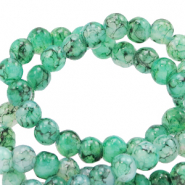 6 mm marbled glass beads Green Ash