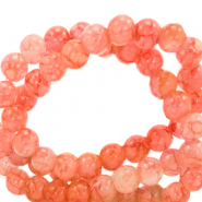 8 mm marbled glass beads Salmon Orange