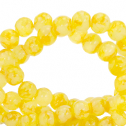 8 mm marbled glass beads Freesia Yellow