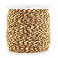 Macramé bead cord 1.5mm Mixed Red-Gold