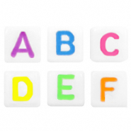 Acrylic letter beads mix White-Neon Multi Colour