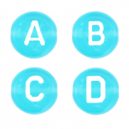 Acrylic letter beads mix Pacific Blue Transparent