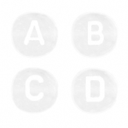 Acrylic letter beads mix White Transparent