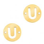 Stainless steel charms connector round 10mm initial coin U Gold