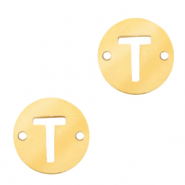 Stainless steel charms connector round 10mm initial coin T Gold