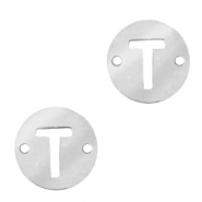 Stainless steel charms connector round 10mm initial coin T Silver