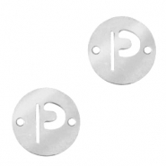 Stainless steel charms connector round 10mm initial coin P Silver
