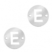 Stainless steel charms connector round 10mm initial coin E Silver