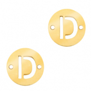 Stainless steel charms connector round 10mm initial coin D Gold