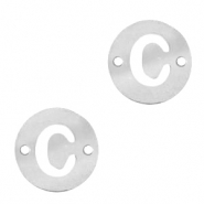 Stainless steel charms connector round 10mm initial coin C Silver