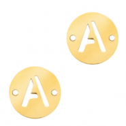 Stainless steel charms connector round 10mm initial coin A Gold