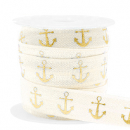 Elastic ribbon anchor Silk White-Gold