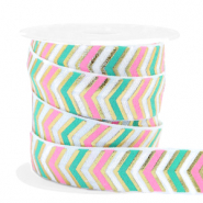 Elastic ribbon arrow Pink-Turquoise Green