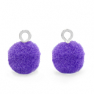 Pompom charms with loop 10mm Silver-Purple